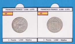 FRANCISCO FRANCO (ESTADO ESPAÑOL)  (1.936-1.975) 1 PESETA  1.944  SC/UNC  Réplica  DL-11.422 - [ 4] 1939-1947 : Gobierno Nacionalista