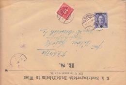 ÖSTERREICH Nachporto 1917? - Seltene 15 H Portofrankierung Mit Überdruck (Ank59) + 10 H Rot Porto Auf K.k. Bezi ... - Portomarken