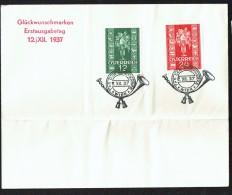 1937  Timbres De Noël  MiNr 658-9 Sur Enveloppe Pliée (n'affecte Pas Les Timbres) - FDC