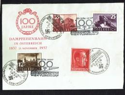 1937  Centenaire Des Chemins De Fer Autrichiens  MiNr 646-8  Timbre Allemand Anniversaire D'Hitler Ajouté  Devant Seulem - FDC