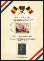 1938  Carte Commémorative De Lavisite De Léopold III Roi Des Belges Aux Pays-Bas 21 Nov. 1938 - 1891-1948 (Wilhelmine)