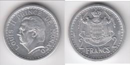 MONACO **** 2 FRANCS  (1943) SANS DATE - ALUMINIUM - LOUIS II **** EN ACHAT IMMEDIAT !!! - Monaco