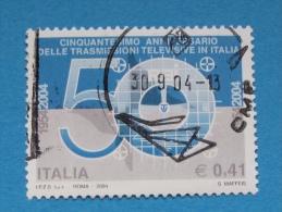 ITALIA USATI 2004 - 50° ANNIVERSARIO TRASMISSIONI TELEVISIVE IN ITALIA - RIF. G 1857 - 6. 1946-.. Repubblica