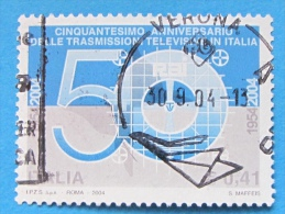 ITALIA USATI 2004 - 50° ANNIVERSARIO TRASMISSIONI TELEVISIVE IN ITALIA - RIF. G 1856 - 6. 1946-.. Repubblica