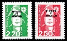 ST-PIERRE ET MIQUELON 1991 - Yv. 552 Et 553 ** TB VariétéFaciale= 0,72 EUR - Mar.Bicentenaire 2f20 & 2f50 ..Réf.SPM1 - Neufs
