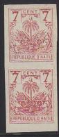 Haiti 1892 Coat Of Arms 7c Red Imperf Pair. Scott 36a. - Haïti