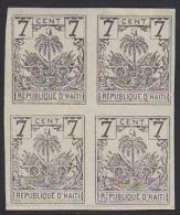 Haiti 1896 Coat Of Arms 7c Grey Imperf Block Of 4. Scott 42. - Haïti