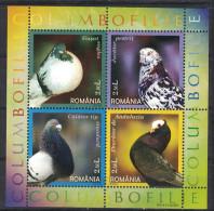 Romania. 2005. Pigeon Breeds. MNH Sheet Of 4. SCV = 8.25 - Columbiformes