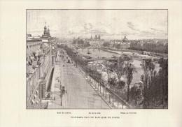 Gravure Sur Bois - 1891 - Paris 1er - Panorama Pris Du Pavillon De Flore - FRANCO DE PORT - Estampes & Gravures
