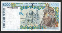 COSTA D´AVORIO ( West African States) 5000 Francs 2002  - P113Al - XF - Costa D'Avorio