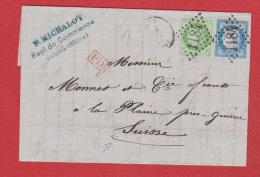 Lettre //  De Cours  //  Pour La Plaine Près Genève  //  3 Septembre 1874 - Postmark Collection (Covers)