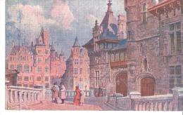 Antwerpen-Anvers-Het Steen En Het Vleeschhuis-Le Steen Et La Vieille Boucherie-Aquarelle-Carte Gauffrée - Antwerpen