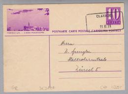 Heimat GR Clavadel 1939-02-11 Aushilfs-O Bedarf Auf Bildpostkarte - Entiers Postaux