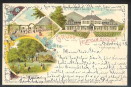 """Mehrfachansicht """"Gruß Vom Feuerschlösschen"""" 1897 Mit MiNr.: 46 Bahnstempel CÖLN(RHEIN)-NIEDERLAHNSTEIN) Zug 119 - Briefe U. Dokumente"""