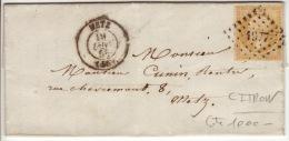 MOSELLE - Metz- Lettre à Metz -CAD- Type15-Oblitération Petit Chiffre 1977- 1858 - Marcophilie (Lettres)