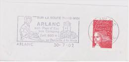 FRANCE. FRAGMENT POSTMARK ARLANC. FLAMME. 2002 - Marcofilia (sobres)