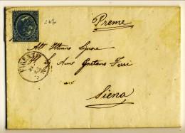 Piego (con Testo) Da Firenze A Siena 8-7-1865 Affrancato Con N. 24 C. 20 Ferro Di Cavallo 2° Tipo - 1861-78 Vittorio Emanuele II