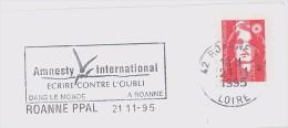 FRANCE. FRAGMENT POSTMARK ROANNE. FLAMME. 1995. AMNESTY INTERNATIONAL - Marcofilia (sobres)