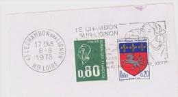 FRANCE. FRAGMENT POSTMARK LE CHAMBON SUR LIGNON. 1978. FLAMME - Marcofilia (sobres)