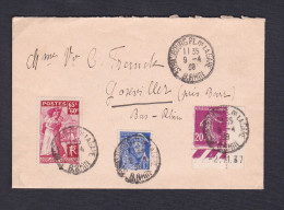 Marcophilie 1939 Strasbourg Vers Goxwiller 3 Timbres Dont Semeuse Bandelette Date Aide Aux Francais Rapatries D'Espagne - Marcophilie (Lettres)