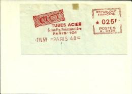 Lettre  EMA Havas M CICT Tubes Acier   1959    75 Paris A72/03 - Affrancature Meccaniche Rosse (EMA)