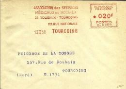 Lettre  EMA Havas M Services Medicaux Sociaux Themes Santé  1958  59  Tourcoing A72/06 - Marcophilie (Lettres)
