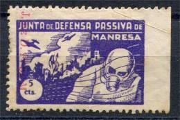 España, Guerra Civil, Manresa 5c, Junta De Defensa Passiva Con Sobrecarga  J. De D.P. De M., Allep - Viñetas De La Guerra Civil