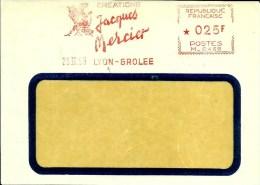 Lettre  EMA Havas M    Creations Jacques Mercier  Themes  Commerces 1959 Lyon  A72/25 - Postmark Collection (Covers)