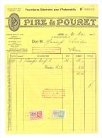 Facture  PIRE & POURET - Fournitures Pour L'automobile, Voiture, Oldtimer 1936 - Factures & Documents Commerciaux
