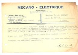 Lettre à Entête - MECANO - ELECTRIQUE à JEMEPPE - Sur - MEUSE En 1948 - Factures & Documents Commerciaux