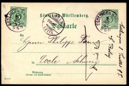 Ganzsache, Königreich Württemberg, Postkarte,Esslingen 8.7.1897 Nach Locle (Neuenburg,Schweiz,9.7.1897) - Ganzsachen
