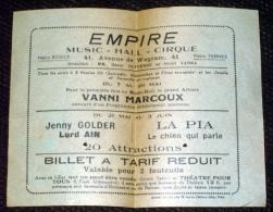 Vieux Papiers - Ticket Empire 41 Avenue De Wagram Paris - Music Hall Cirque Spectacle Théatre - Tickets - Vouchers