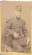 Photographie XIXème CDV Portrait D´un Militaire Circa 1860 66 Au Col Photographe Janvier à Tours - Guerre, Militaire