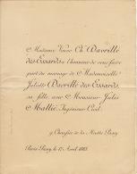 Mariage Davrillé Des Essards - Mallié Passy 1883 - Wedding