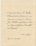 Mariage Maillé - Davrillé Des Essards Passy 1883 - Mariage
