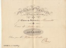 Athénée D'anvers 1848 - 1849 Accessit Daems Fond Du Ministre Jacobs Victor - Diplômes & Bulletins Scolaires