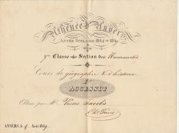 Athénée D´anvers 1848 - 1849 Accessit Daems Fond Du Ministre Jacobs Victor - Diplômes & Bulletins Scolaires