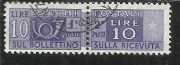 ITALIA REPUBBLICA ITALY REPUBLIC 1955 1979 PACCHI POSTALI PARCEL POST STELLE STARS LIRE 10 USATO USED OBLITERE´ - Postpaketten