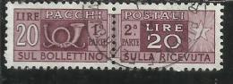ITALIA REPUBBLICA ITALY REPUBLIC 1955 1979 PACCHI POSTALI PARCEL POST STELLE STARS LIRE 20 USATO USED OBLITERE´ - Postpaketten