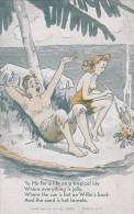 Vintage Humour Arcade Card Couple Straanded On Island