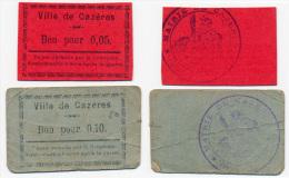 CAZERES //   5  & 10  Centimes - Bons & Nécessité