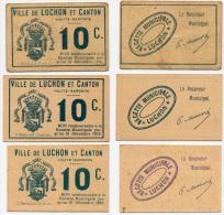 LUCHON & CANTON //  Haute Garonne //  2 X 5 & 3 X 10  Centimes - Bons & Nécessité