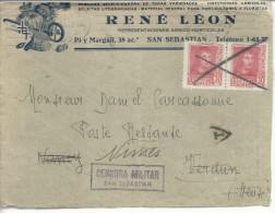 """En-tête René Léon >> Verdun >> Nîmes """"censura Militar San Sebastian"""" - Marcas De Censura Nacional"""