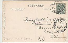 Malta: Postcard Of Littleton, Mass, Valletta To Sliema, Cachet 10, 8 April 1908 - Malta (...-1964)
