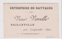 Carte De Visite Ancienne - ENTREPRISE DE BATTAGE VICTOR VERVELLE SAILLEVILLE PAR LAIGNEVILLE - Cartes De Visite