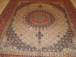 PERSIAN PERSIA CARPET MUD- Birjand ENTIRELY WITH GOOD HAND KNOTTED WOOL AND SILK INLAY KNOTS SERRATI EXTRA FINE - Tapis & Tapisserie