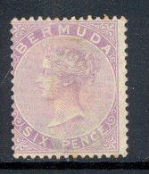 BERMUDA, 1865 6d Dull Mauve  MM, Cat £23 - Bermuda