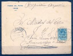 1919 , GUIPÚZCOA , SOBRE CIRCULADO ENTRE IRÚN Y ESTACIÓN CASALINS EN ARGENTINA, TRÁNSITOS , LLEGADA - 1889-1931 Royaume: Alphonse XIII