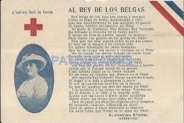 24228 ROYALTY BELGIUM KING & UNITY IS STRENGTH ALFONSINA STORNI POSTAL POSTCARD - Familles Royales