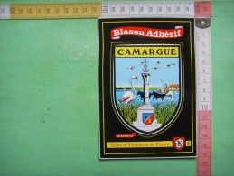 2) Carte : Blason Adhesif : Camargue  :  RECTO - VERSO - France